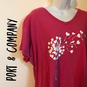 Port and Company, XXL, Pink and White Tee